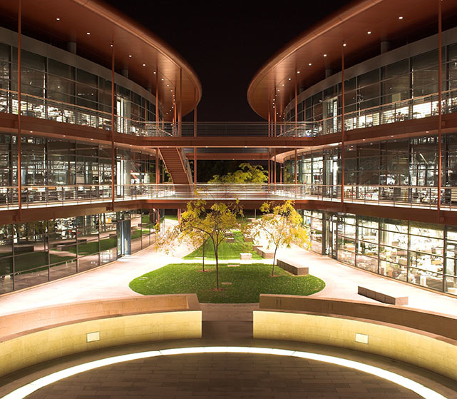 James_H._Clark_Center_at_night